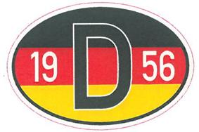 Landeskennzeichen mit Flagge und Jahreszahl