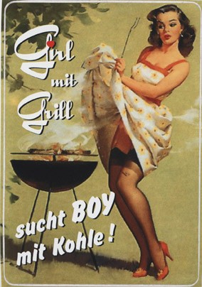 Pin Up Girl mit Grill
