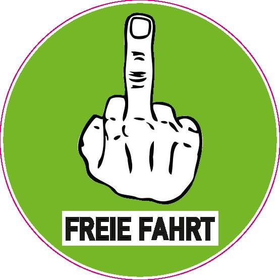 Feinstaubplakette - Freie Fahrt Stinkefinger