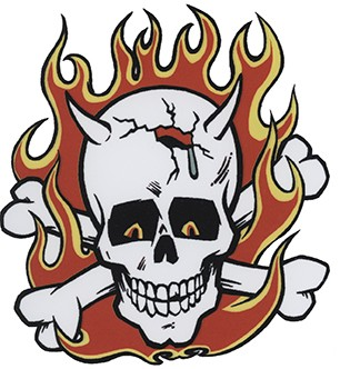 Totenkopf Teufel Flammen