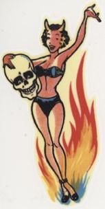 Pin Up Teufelin Totenkopf Flammen