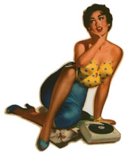 Pin Up mit Plattenspieler